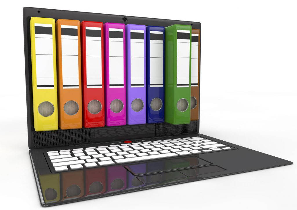 Image of a laptop computer with colorful binders of files on the screen.